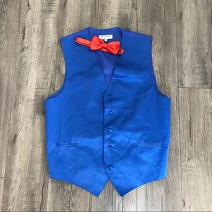 Blue Vest and Red Bow Tie